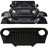 Front Grille Fits 1997-2006 Jeep Wrangler TJ | V2 Style Black ABS Gladiator Angry Bird Hood Grille Front Guard Protection By IKON MOTORSPORTS | 1998 1999 2000 2001 2002 2003 2004 2005