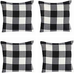 Jartinle 4 Pack Farmhouse Decorative Black White Buffalo Check Plaids Throw Pillow Cases Cotton Linen Decorative Cushion Cover Throw Pillowcase 18x18 inch Fall Halloween Home Decor