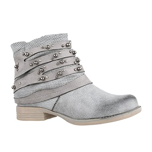 cd983bf711bf35 Elara Women s Biker Boots Grey Size  4 UK