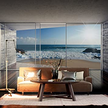 Fototapete schlafzimmer meer  decomonkey| Fototapete Fenster zum Meer Strand Sonne 350x256 cm XXL ...