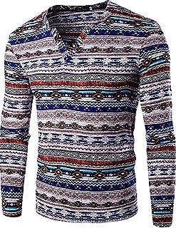 T-Shirt Home T-Shirt da Uomo in Lino con Scollo a V Slim Fit a Manica Lunga Etnica (Color : Purple, Size : XS)