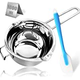 1000ML/1QT Double Boiler Chocolate Melting Pot,304 Stainless Steel Candle Making Kit, Melting Pot with Silicone Spatula for M