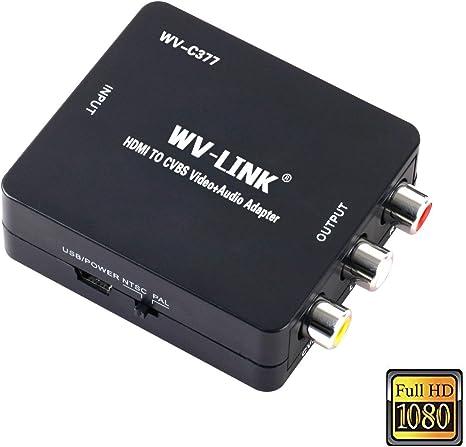 wv-link HDMI de 1080p a AV RCA CVBS Composite Video Audio Adaptador Soporte PAL/NTSC para PC portátil Xbox PS4 PS3 STB de TV VHS VCR de la cámara DVD: Amazon.es: Electrónica