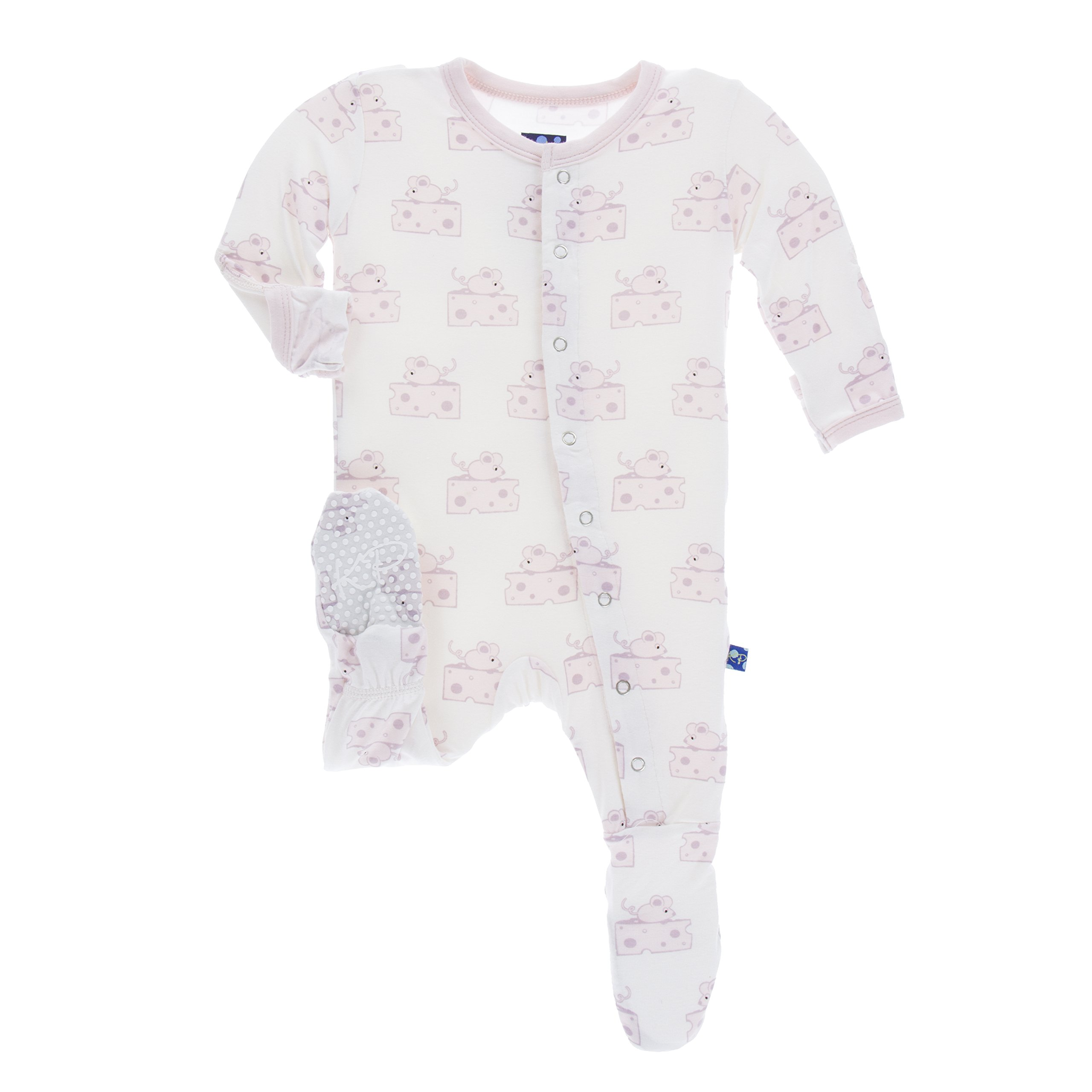 Kickee Pants Print Footie with Snaps in Natural Mouse & Cheese, 4T