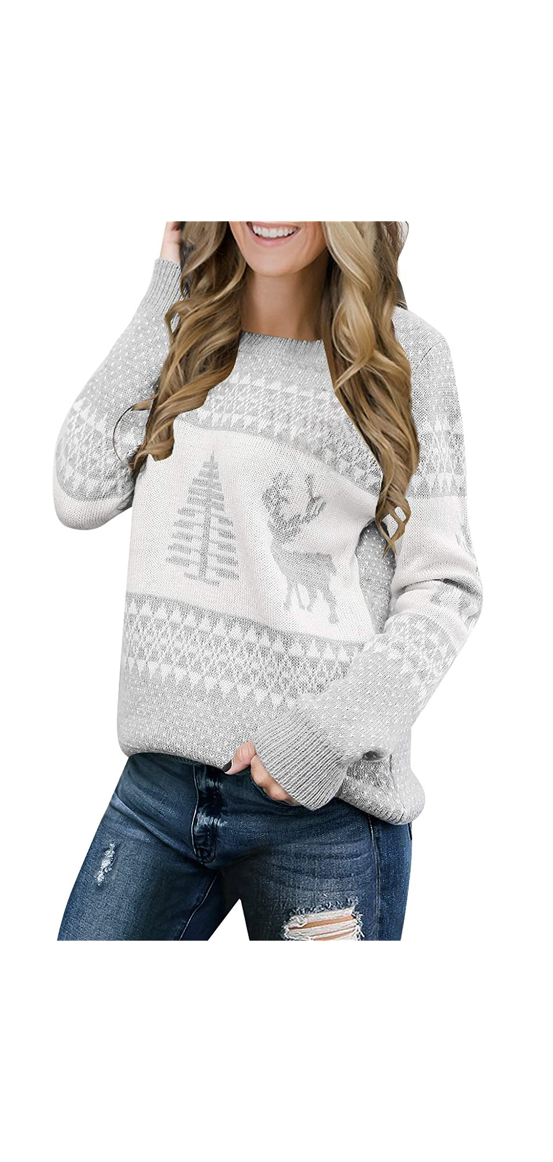 Women Ugly Christmas Tree Reindeer Holiday Knit