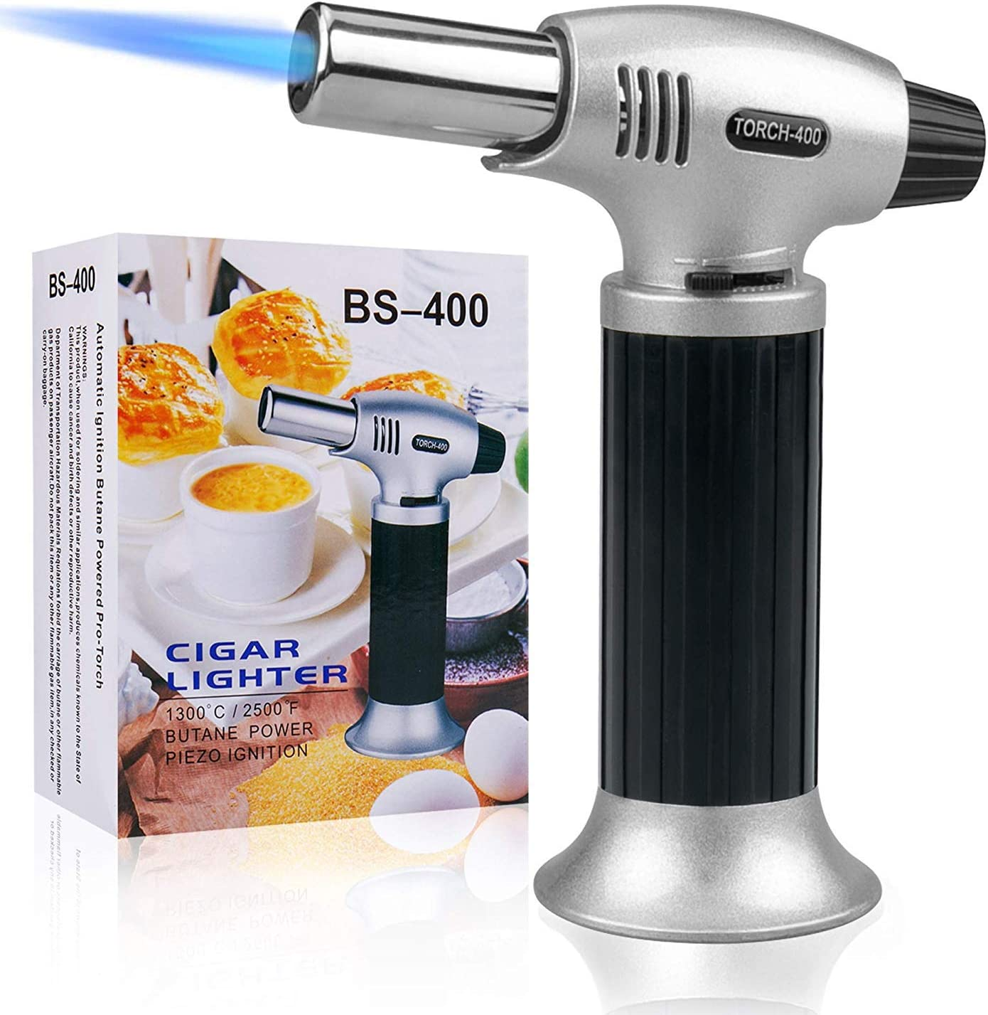 AOHEZI Culinary Blow Torch, Tintec Chef Cooking Torch Lighter, Butane Refillable, Flame Adjustable (MAX 2500°F) with Safety Lock for Cooking, BBQ, Baking, Brulee, Creme, DIY Soldering & more