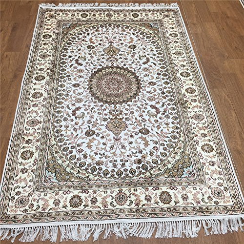 Persian Qum Silk Rugs - Yilong 4'x6' Handmade Nain Silk Rug Vintage Traditional Persian Hand Knotted Living Room Carpet (4-Feet-by-6-Feet, Ivory) Y214C4x6