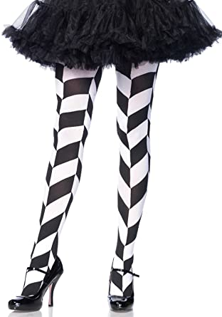 41bd8933e1ab4 Leg Avenue 7950 One Size 6 to 12 Black and White Chevron Illusion Woven  Opaque Tights with Elastic Waistband: Amazon.co.uk: Health & Personal Care