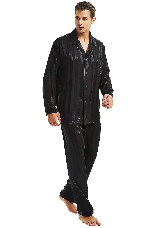 Juego de sat/én de Seda de Pijama para Pijamas Pijamas dise/ño de Rayas S ~ 4/x l Plus Regalos