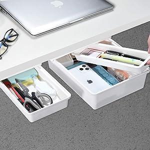Under Desk Drawer, GGIANTGO Mini Desk Drawer [2Pack, L+S], Set for Office/Bedroom/Schoolroom/Kitchen, Self-Adhesive Under Desk Storage for Phone/Pens/Pencils/Keys/Cutlery and More