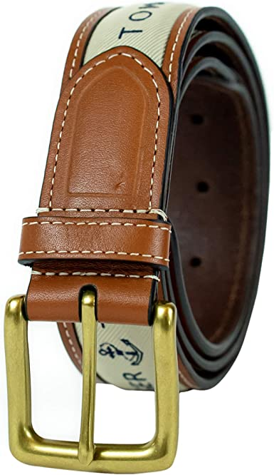 New Tommy Hilfiger Men/'s Casual Ribbon Inlay Anchor Logo Leather Belt 11TL02X032
