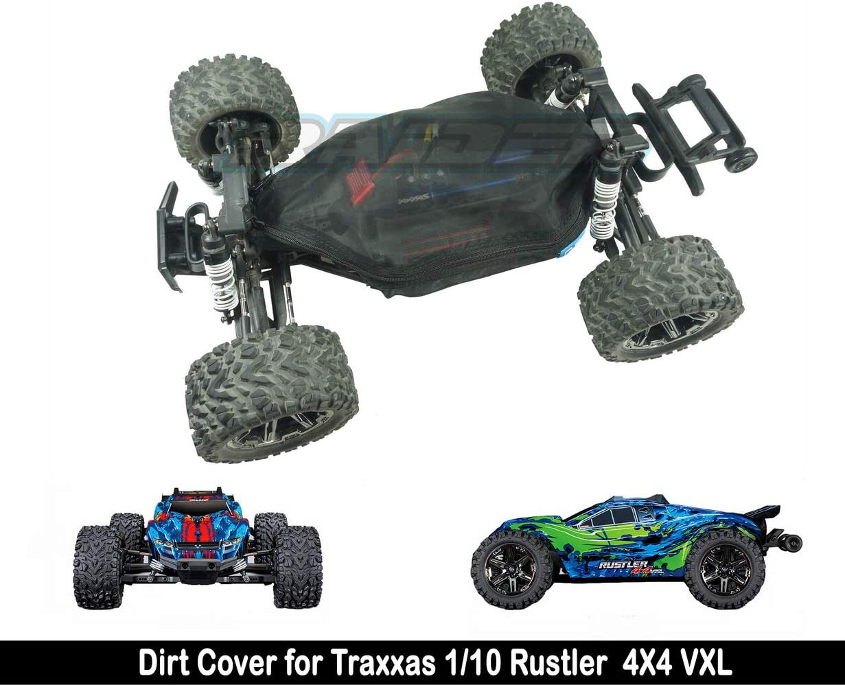 B07R71TWNJ Raidenracing Nylon Mesh Chassis Dirt Dust Resist Guard Cover for Traxxas 1/10 Rustler 4X4 VXL 4WD Brush & Brushless 71e8WSak3SL