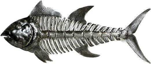 """Fish Bones Metal Wall Art Sculpture 24/"""" Haiti Handmade Fair Trade"""