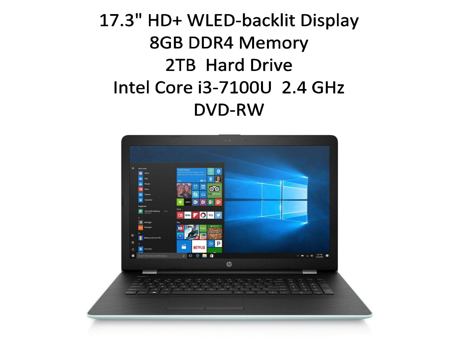 "HP 17.3"" HD+ Notebook (2018 New), Intel Core i3-7100U Processor 2.4 GHz, 8GB Memory, 2TB Hard Drive, Optical Drive, HD Webcam, Backlit Keyboard, Windows 10 Home, Pale Mint 1"