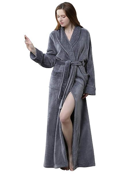 HAINE Unisex Ropa de Dormir Larga y Larga Vestido de gofres de Invierno Fluffy Albornoz Fleece Camisón, UK 6-16