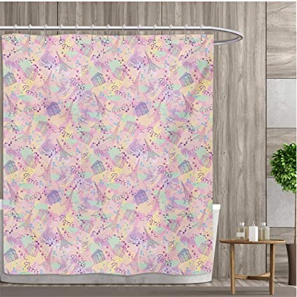 Smallfly Paris Shower Curtains Sets Bathroom Soft Color Palette With Cup Of Coffee Architecture The