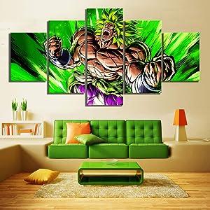 ZYUN 5 Piece Mural Legendary Super Saiyan Dragon Ball Super Broly Movie Poster Wall Pictures Canvas Painting Home Decor Wall Art,B,20x35x2+20x45x2+20x55x1