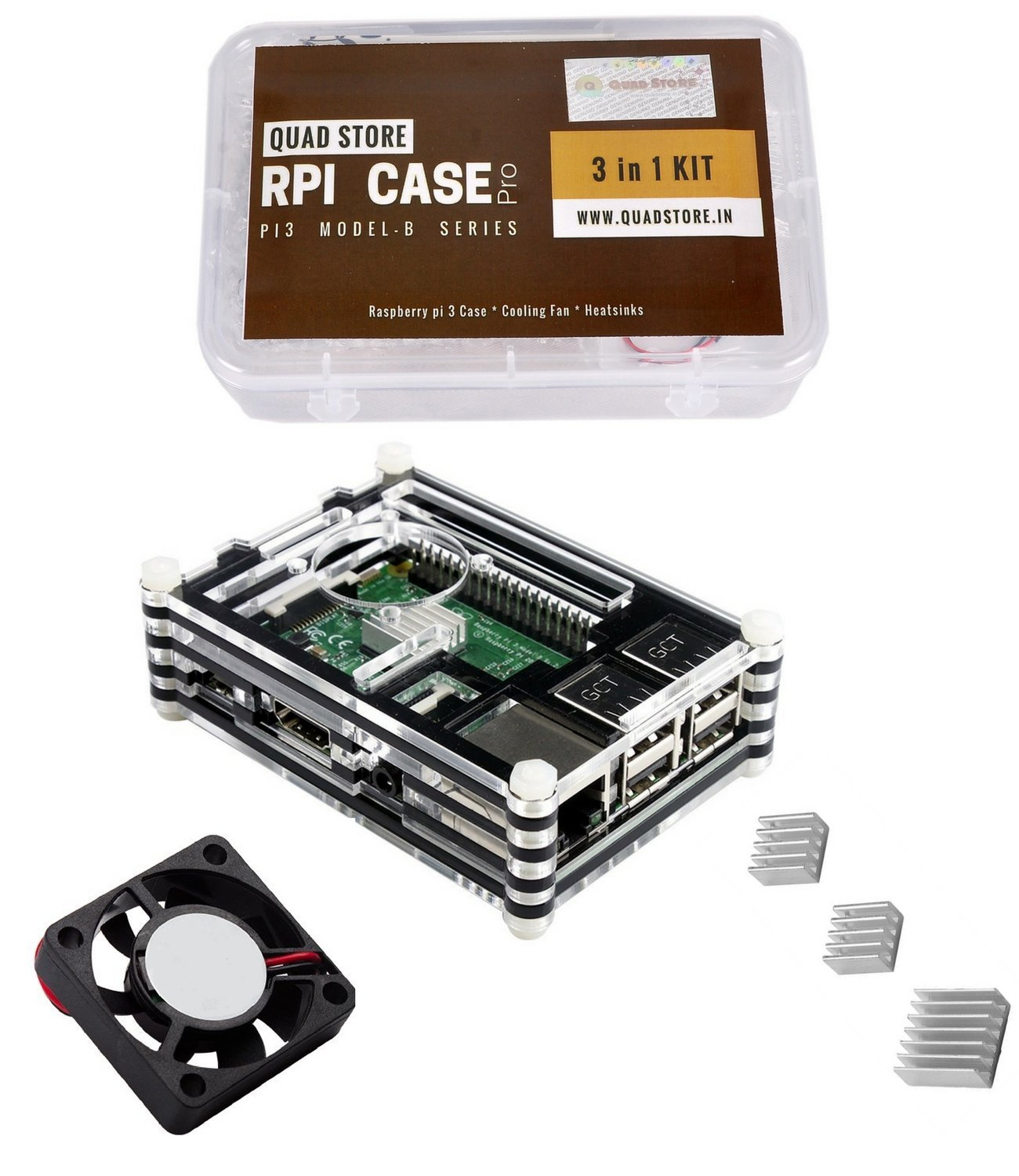 Quad Storetm 3 In 1 Raspberry Pi Case For Model B With Heatsinks Pi3 And Cooling Fan Transparent Industrial Scientific
