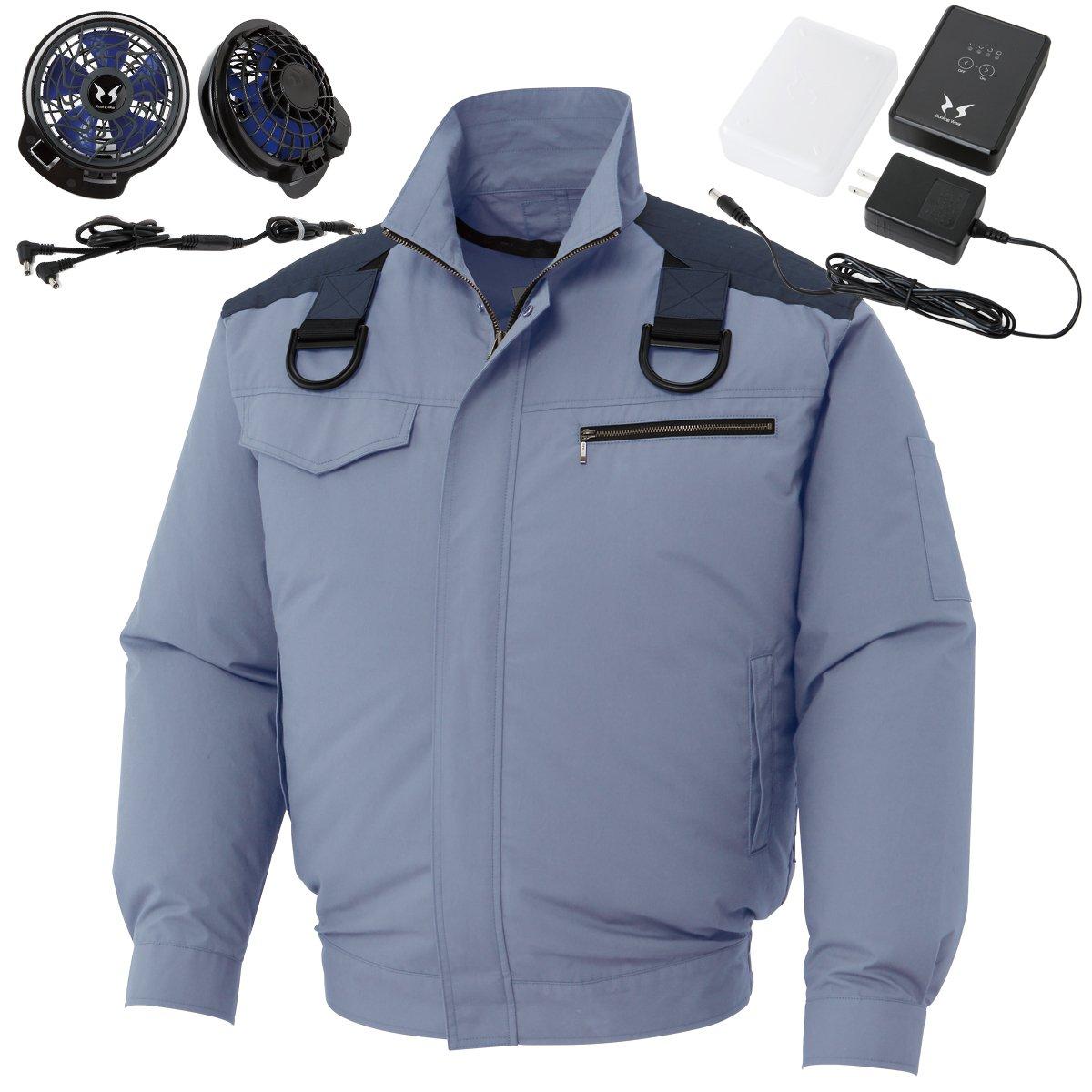 フルハーネス用 空調服 空調風神服 2017年新商品 肩パット付綿100% ブルゾン(2017年最新型/日本製/リチウムイオンバッテリー/新型ファン)<099-KU93504F> B06Y4WNPPY M|7-ブルーグレー 7-ブルーグレー M