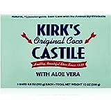 Kirk's Natural Original Coco Castile Soap with Aloe Vera, 3 Count