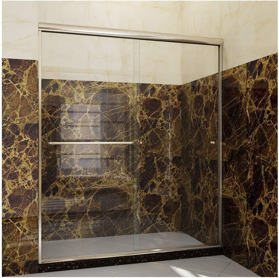 58-60 W x 72 H 1//4 Clear Tempered Glass Sliding Glass Door Chrome Finish Mecor Frame Two Sliding Shower Door
