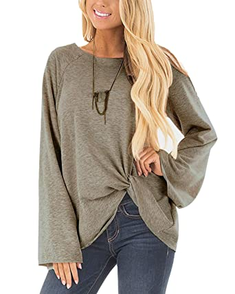 f804591b07 YOINS Women s Plain Round Neck Long Sleeve Loose Fit Stripe Patchwork T- Shirts with Crossed Front Design Blouse Tops  Amazon.co.uk  Clothing
