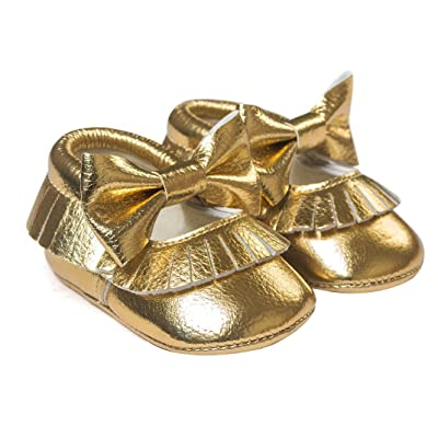 Amiley Baby Girl Bowknot Tassels Shoes Toddler Golden Sneakers Casual Shoes