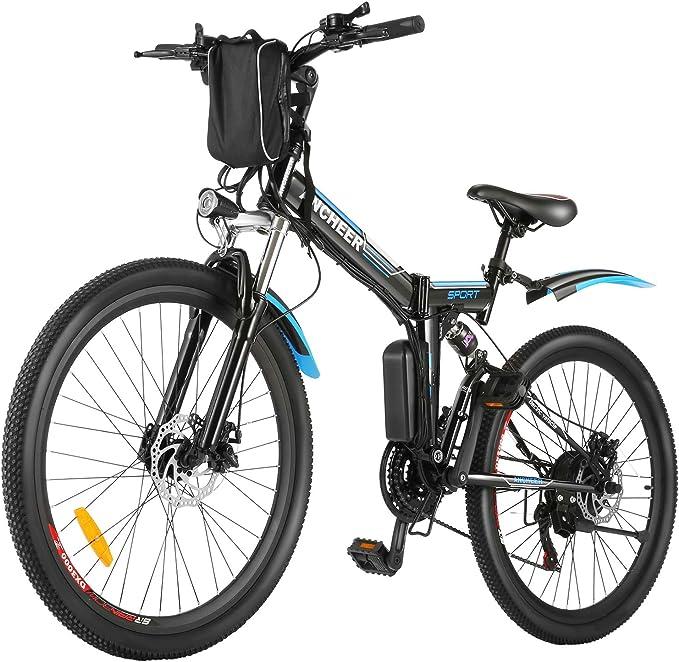 con batteria al litio rimovibile da 48 V in alluminio pieghevole da spiaggia Mountain bike elettrica da 400 W elettrica 12,5 A 26 pollici per adulti ENGWE a 21 marce