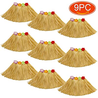Elesa Miracle 9Pc Kids Girls Elastic Hawaiian Hibiscus Grass Hula Skirts Value Set Costume Luau Party Favors Hula Dancer Skirt, Tan, Yellow: Toys & Games