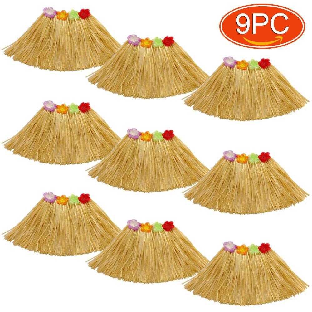 Elesa Miracle 9pc Kids Girls Elastic Hawaiian Hibiscus Grass Hula Skirts Value Set Costume Luau Party Favors Hula Dancer Skirt, Tan