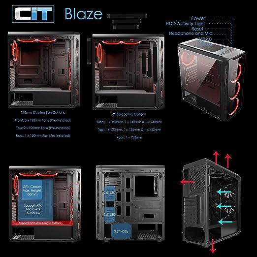 CiT Blaze - Carcasa para Juegos (Cristal Templado, 6 Anillas), Color Rojo: Amazon.es: Informática