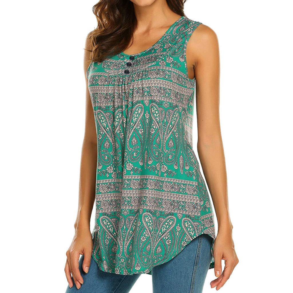Womens Tank Tops Bohemian Print Ruched T-Shirt Summer Beach Sleeveless Tee Casual Loose Blouses Transer