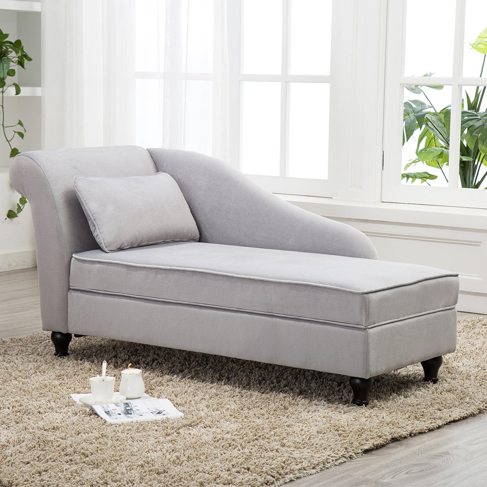 Modern Chaise Lounge Open Fold Spa Sofa Long Lounger for Bedroom, Office, Living Room with Storage by Tongli