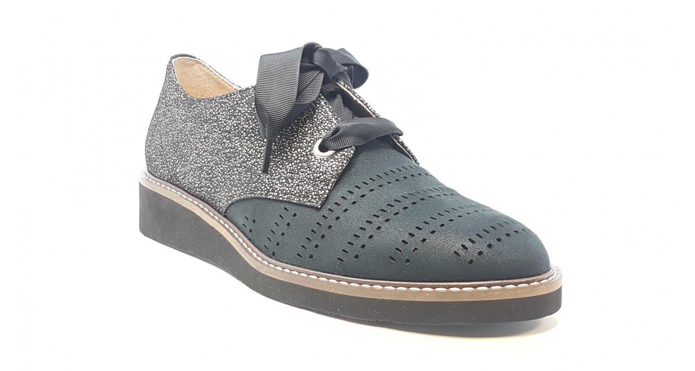 Fugitive - Zapatos de Cordones para Mujer 38 EU|Negro