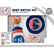 MasterPieces MLB New York Yankees Baby Rattle Set, Two Real Wood Rattles