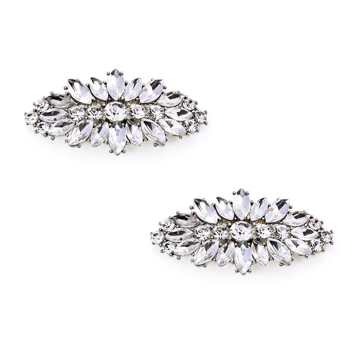 ElegantPark AW Women's Leaf Design Rhinestones Crystal Clutch Dress Hat Shoe Clips Silver 2 Pcs by ElegantPark (Image #1)