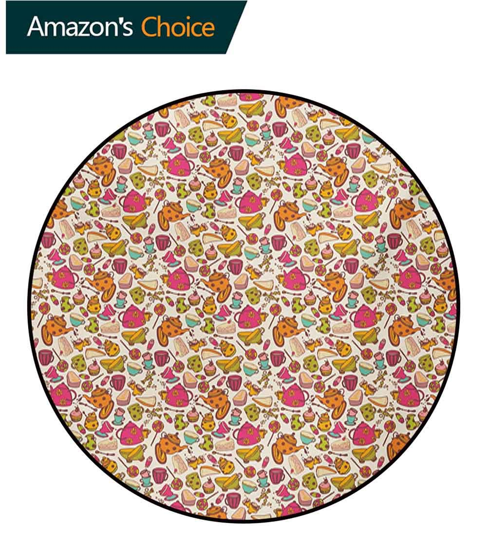 RUGSMAT Tea Party Modern Washable Round Bath Mat,Retro Style Kitchen Things Pattern Cups and Pots Delicious Cakes Colorful Candies Non-Slip Bathroom Soft Floor Mat Home Decor,Round-63 Inch by RUGSMAT (Image #3)