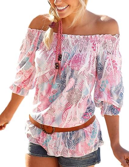 foto ufficiali 0264b d3100 BOLAWOO Camicia Donna Elegante Estiva Vintage Fiori con Volant ...