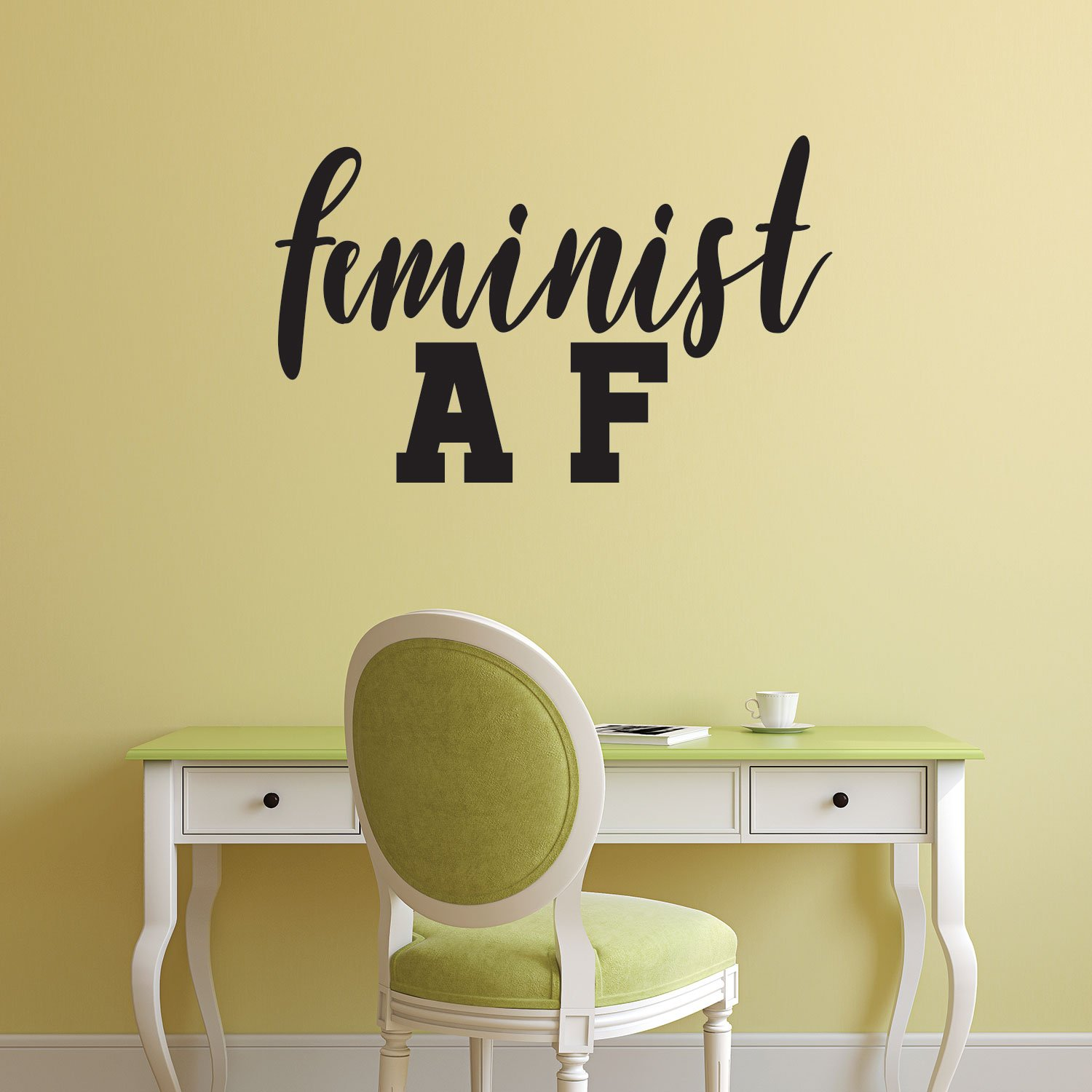 Feminist AF Quote - Wall Art Decal - 14'' x 23'' - Life Quotes Vinyl Wall Art - Inspirational Women Empowerment - Girl Power Novelty Gift - Bedroom Living Room Wall Art