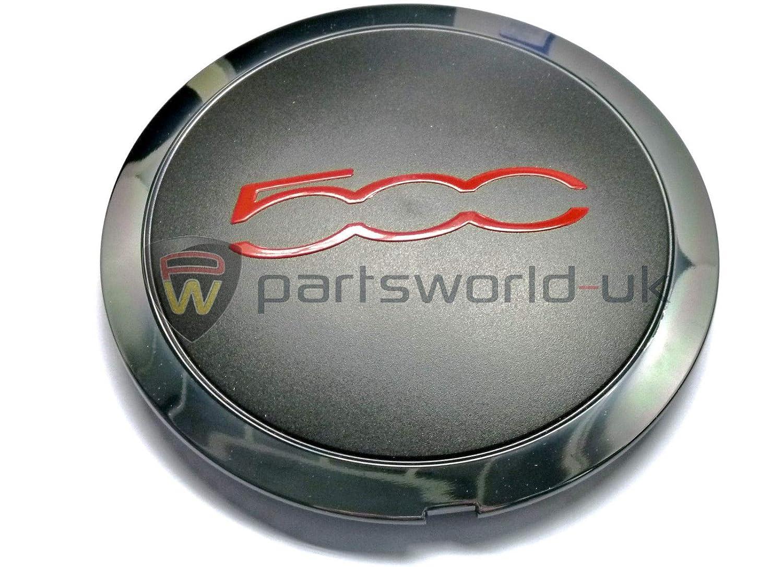 PSA Tapacubos de aleación para Fiat 500 Sport GT tapón Central de Color Rojo: Amazon.es: Coche y moto