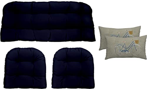 Resort Spa Home Decor Navy Blue Cushions for Wicker Loveseat Settee 2 Matching Chair Cushions 2 Free Bicycle Rectangular Lumbar Pillows