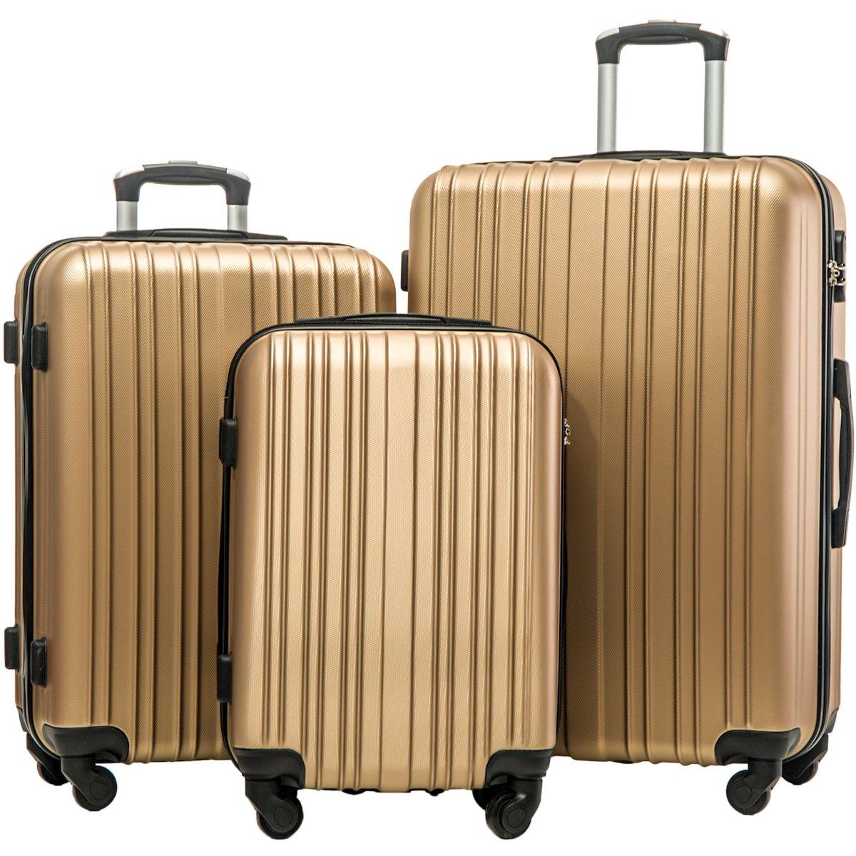 Merax Hylas 3 Piece Luggage Set Lightweight Spinner Suitcase(Champagne Gold)