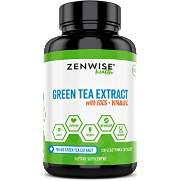 powerful Green Tea Extract Supplement with EGCG & Vitamin C - Antioxidants & Polyphenols for Immune System - For Weight Support & Energy - Decaffeinated Pills for Brain & Heart Health - 120 Count
