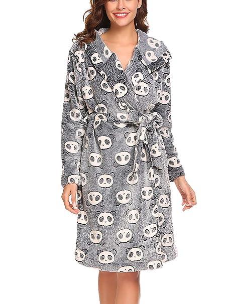 Bata De Baño Bata para Mujer Bata De Ropa Sauna para Mujer Larga con Bolsillo Pijama Manga Larga Abrigo Cálido Y Camisón: Amazon.es: Ropa y accesorios