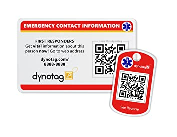Dynotag Internet Enabled QR Code Smart Emergency Contact Info Card Kit - 2  Cards