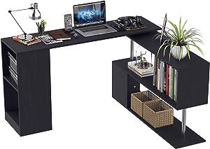 HOMCOM Modern L Shaped Rotating Computer Desk with Shelves - Black