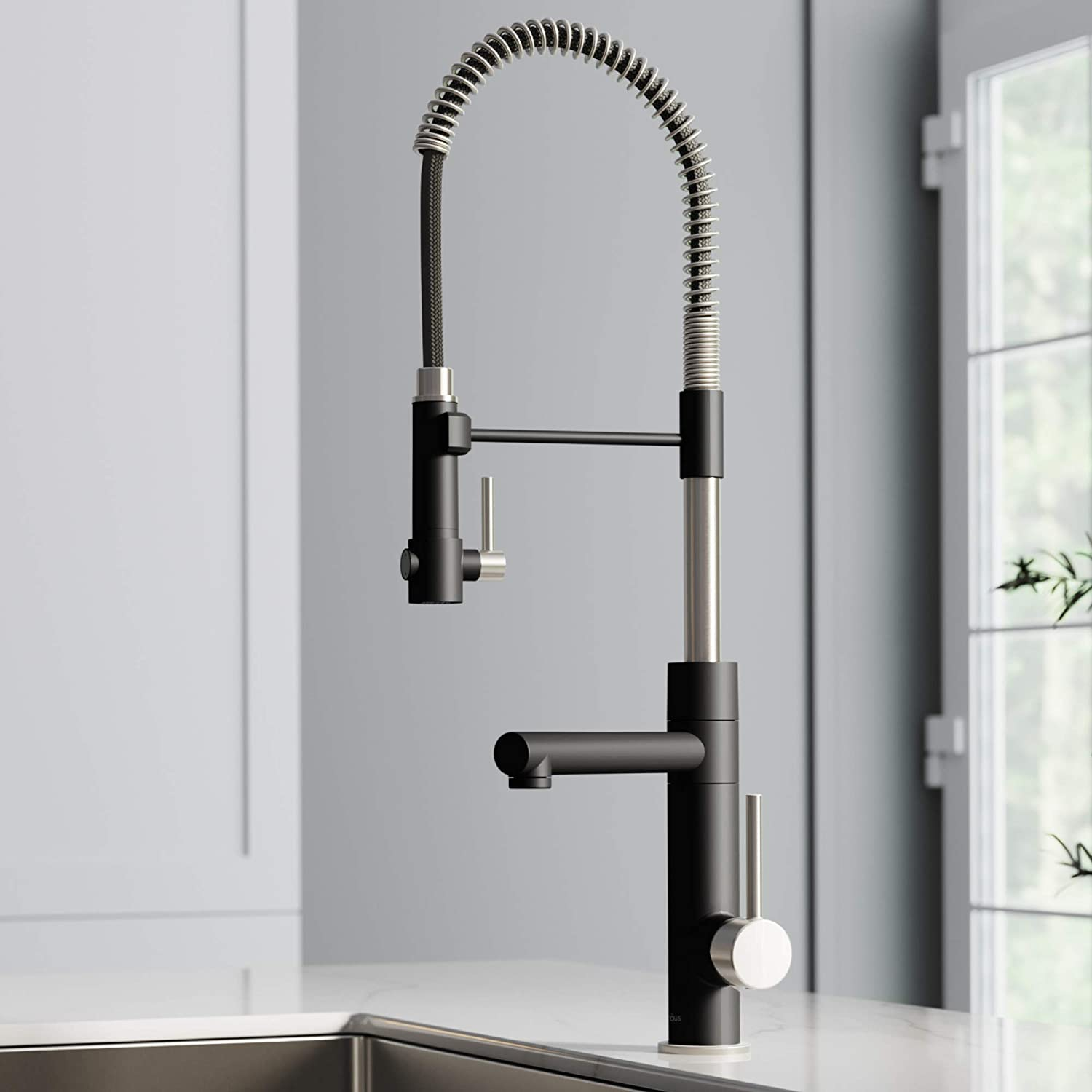 KRAUS New Artec Pro Spot Free Finish 2-Function Commercial Style Pre-Rinse Kitchen Faucet with Pull-Down Spring Spout and Pot Filler, Stainless Steel/Matte Black, KPF-1603SFSMB