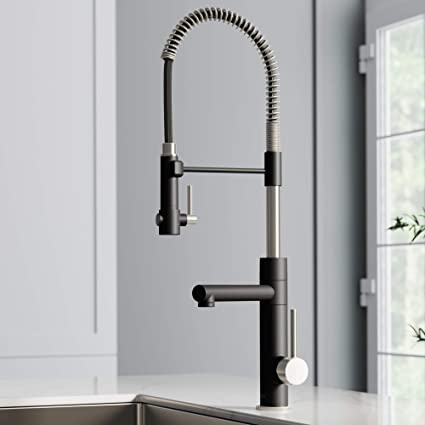 KRAUS KPF-1603SFSMB New Artec Pro 2-Function Commercial Style Pre-Rinse  Kitchen Faucet with Pull-Down Spring Spout and Pot Filler, 24.75 inch, Spot  ...