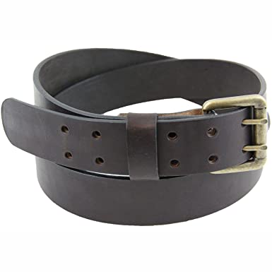 Made in USA 1 1/2 Dark Brown Bridle Leather Belt With Double Hole at