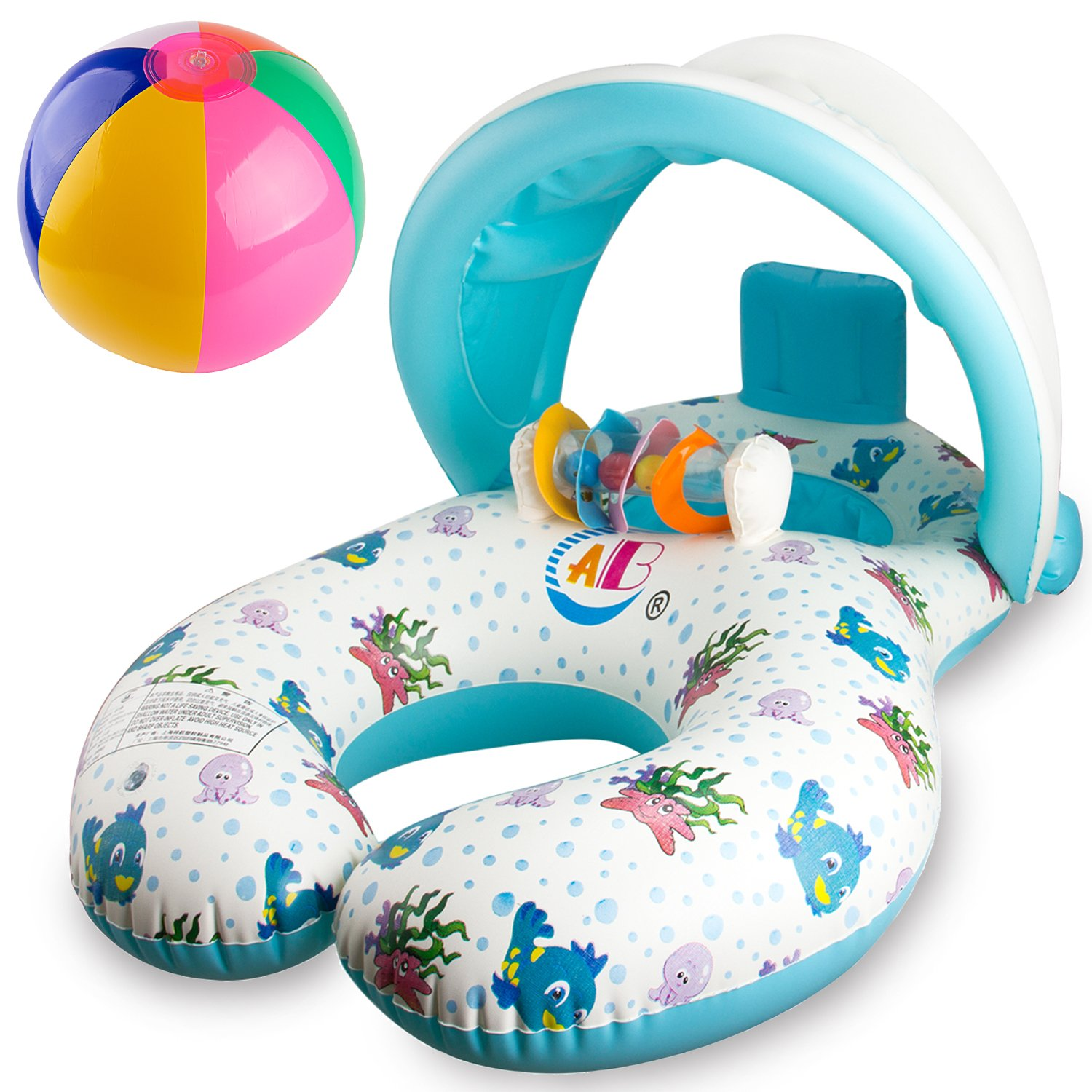 R • HORSE Baby Pool Float - Baby Swim Float Pool Toy with Mommy Swim Ring for 8 - 36 Months Old Baby - Removable Canopy with Water-polo and Fluorescent Wristband by R ? HORSE